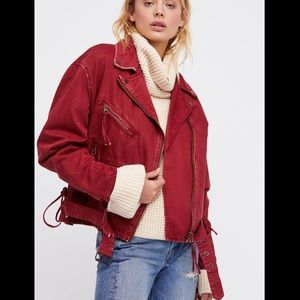 Free People Oversized Red Denim Moto Jacket